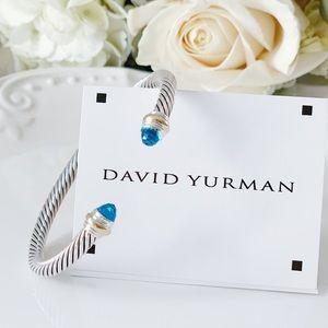 DAVID YURMAN Cable 5mm w/Gold &Blue Topaz Bracelet